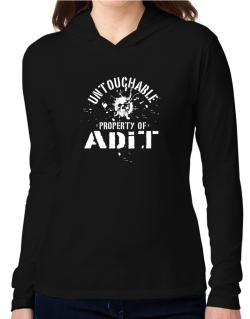 Untouchable : Property Of Adit Hooded Long Sleeve T-Shirt Women