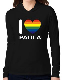 I Love Paula - Rainbow Heart Hooded Long Sleeve T-Shirt Women