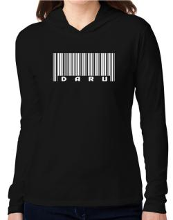 Daru - Barcode Hooded Long Sleeve T-Shirt Women