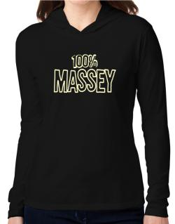 100% Massey Hooded Long Sleeve T-Shirt Women