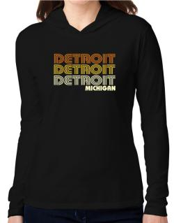 Detroit State Hooded Long Sleeve T-Shirt Women