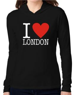 I Love London Classic Hooded Long Sleeve T-Shirt Women