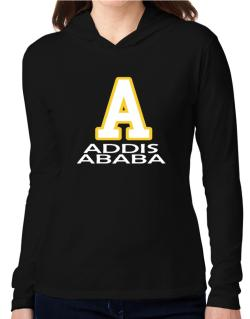 """ Addis Ababa - Initial "" Hooded Long Sleeve T-Shirt Women"