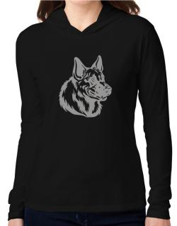""" Belgian Malinois FACE SPECIAL GRAPHIC "" Hooded Long Sleeve T-Shirt Women"