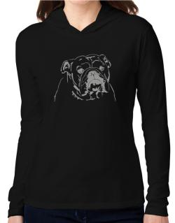 American Bulldog Face Special Graphic Hooded Long Sleeve T-Shirt Women