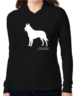 Belgian Malinois Stencil / Chees Hooded Long Sleeve T-Shirt Women