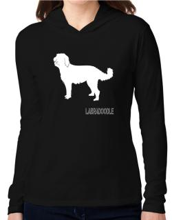 Labradoodle Stencil / Chees Hooded Long Sleeve T-Shirt Women