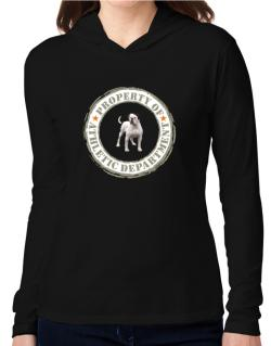 """ PROPERTY OF American Bulldog ATHLETIC DEPARTMENT TRANSFER "" Hooded Long Sleeve T-Shirt Women"