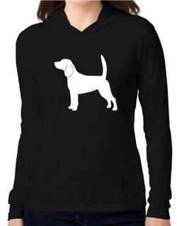 Beagle Silhouette Embroidery Hooded Long Sleeve T-Shirt Women
