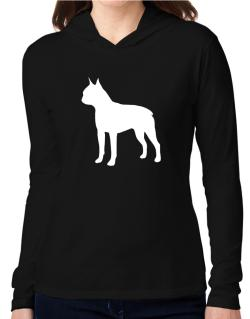 Boston Terrier Silhouette Embroidery Hooded Long Sleeve T-Shirt Women