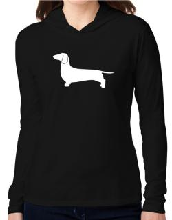Dachshund Silhouette Embroidery Hooded Long Sleeve T-Shirt Women