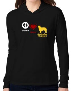 Peace, Love, Australian Shepherd Hooded Long Sleeve T-Shirt Women
