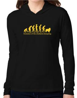 Evolution Of The Shetland Sheepdog Hooded Long Sleeve T-Shirt Women