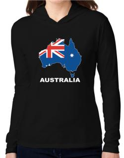 Australia - Country Map Color Hooded Long Sleeve T-Shirt Women