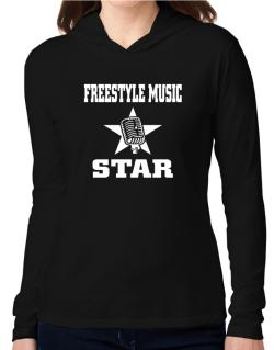 Freestyle Music Star - Microphone Hooded Long Sleeve T-Shirt Women