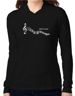 Freestyle Music - Notes Hooded Long Sleeve T-Shirt Women