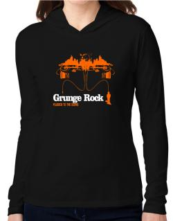 """  Grunge Rock plugged into the sound "" Hooded Long Sleeve T-Shirt Women"