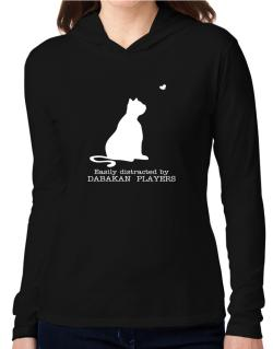 Easily Distracted By Dabakan  players Hooded Long Sleeve T-Shirt Women
