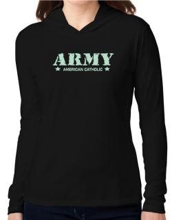 Army American Catholic Hooded Long Sleeve T-Shirt Women