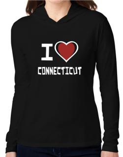 I Love Connecticut Hooded Long Sleeve T-Shirt Women