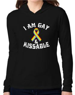 I Am Gay And Kissable Hooded Long Sleeve T-Shirt Women