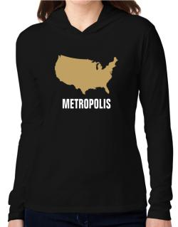 Metropolis - Usa Map Hooded Long Sleeve T-Shirt Women