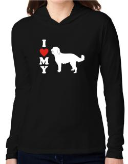 """"""" I LOVE MY Labradoodle """"  SILHOUETTE  Hooded Long Sleeve T-Shirt Women"""