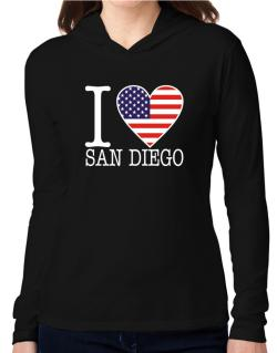 """ I love San Diego - American Flag "" Hooded Long Sleeve T-Shirt Women"