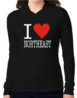 I Love Northeast Hooded Long Sleeve T-Shirt Women