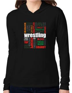Wrestling Words Hooded Long Sleeve T-Shirt Women