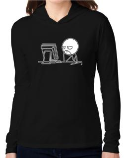 Computer guy Hooded Long Sleeve T-Shirt Women