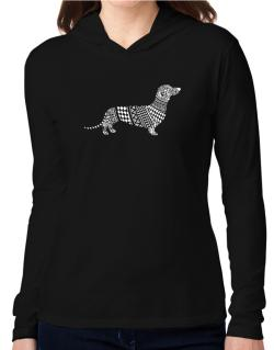 Dachshund Artistic Hooded Long Sleeve T-Shirt Women