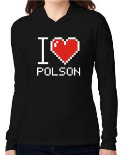 I love Polson pixelated Hooded Long Sleeve T-Shirt Women