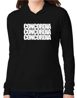 Concordia three words Hooded Long Sleeve T-Shirt Women