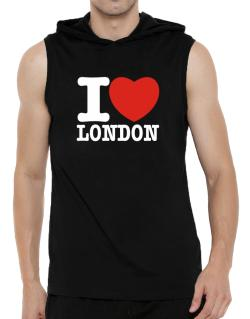 I Love London Hooded Sleeveless T-Shirt - Mens