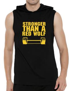 Stronger Than A Red Wolf Hooded Sleeveless T-Shirt - Mens