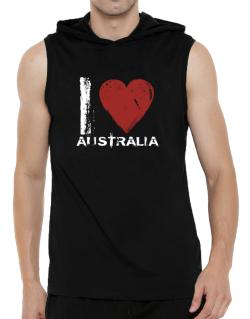 I Love Australia - Vintage Hooded Sleeveless T-Shirt - Mens