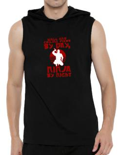 Wall And Ceiling Fixer By Day, Ninja By Night Hooded Sleeveless T-Shirt - Mens