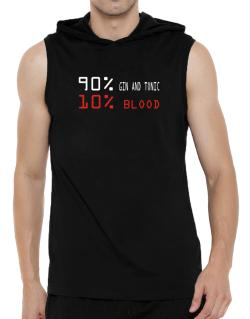 90% Gin And Tonic 10% Blood Hooded Sleeveless T-Shirt - Mens