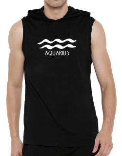 Aquarius - Symbol Hooded Sleeveless T-Shirt - Mens