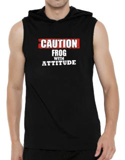 Caution - Frog With Attitude Hooded Sleeveless T-Shirt - Mens