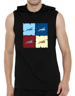 """ Aerobatics - Pop art "" Hooded Sleeveless T-Shirt - Mens"