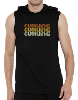 Curling Retro Color Hooded Sleeveless T-Shirt - Mens