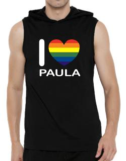 I Love Paula - Rainbow Heart Hooded Sleeveless T-Shirt - Mens