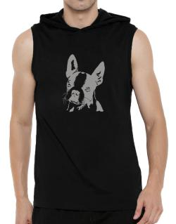 Boston Terrier Face Special Graphic Hooded Sleeveless T-Shirt - Mens