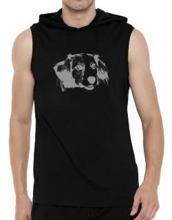 """ Kooikerhondje FACE SPECIAL GRAPHIC "" Hooded Sleeveless T-Shirt - Mens"