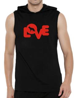Love Silhouette German Shepherd Hooded Sleeveless T-Shirt - Mens
