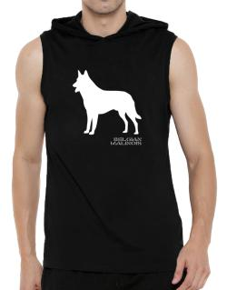 Belgian Malinois Stencil / Chees Hooded Sleeveless T-Shirt - Mens