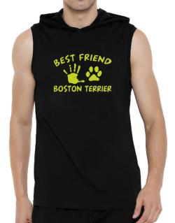 My Best Friend Is My Boston Terrier Hooded Sleeveless T-Shirt - Mens