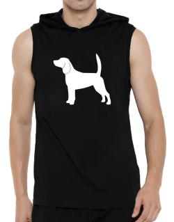 Beagle Silhouette Embroidery Hooded Sleeveless T-Shirt - Mens
